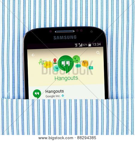 Hangouts app on the Samsung galaxy display