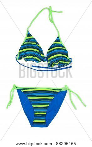 Trendy Blue Striped Swimsuit.
