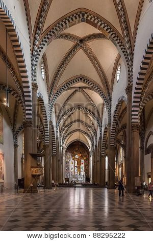 The Interior Of Santa Maria Novella Church In Florence, Italy