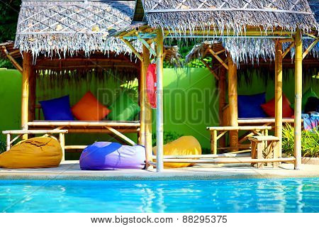 Beautiful Tropical Pool With Thatch And Colorful Pads