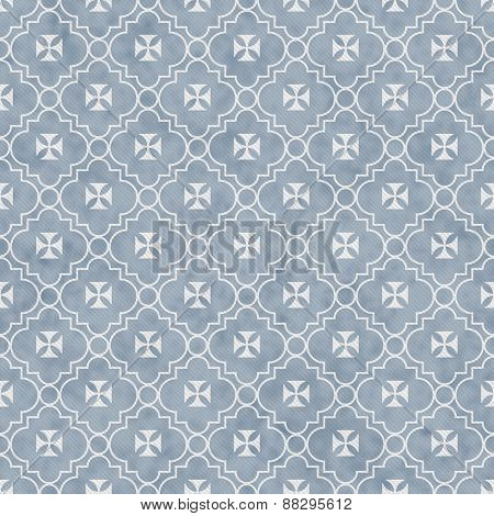 Pale Blue And White Maltese Cross Symbol Tile Pattern Repeat Background
