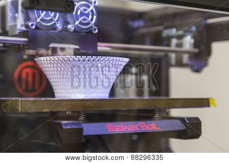 3D Printer On Display At Fuorisalone During Milan Design Week 2015