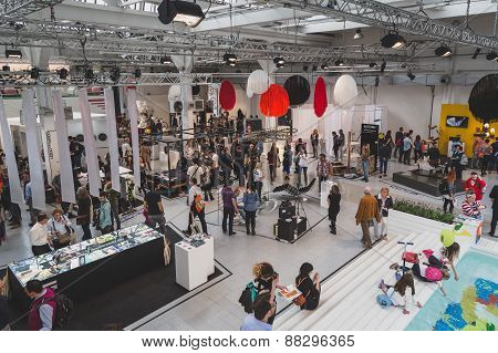 Top View Of People And Exhibitors At Fuorisalone During Milan Design Week 2015