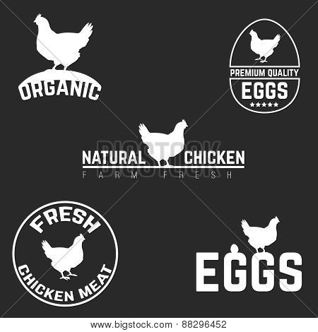 Set chicken and eggs logo emblem. Natural fresh farm