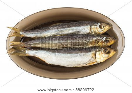 Three Herring In Black Transparent Glass Plate