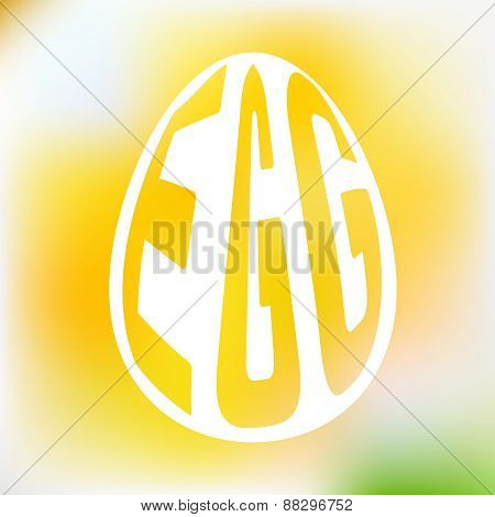 Silhouette of egg with text inside on blur background