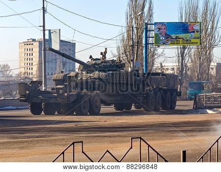 Makeevka, Ukraine - February, 12 , 2015: Tank Belonging To The Separatists Transported In Rebellious