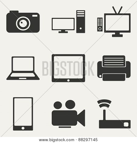Flat in black and white concept mobile application technology icons