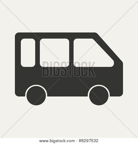 Flat in black and white mobile application bus