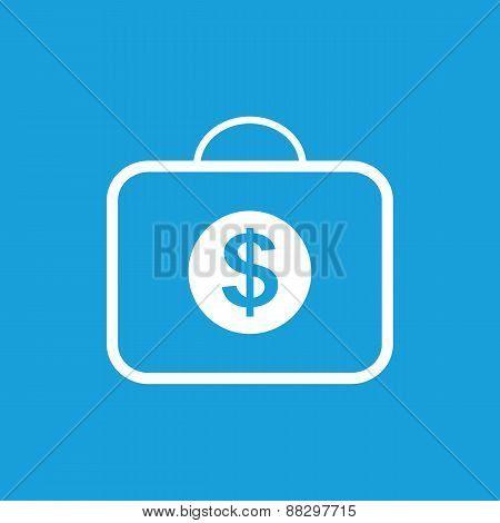 Bag with dollars white icon