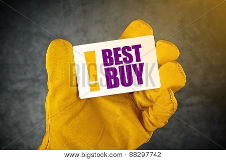 Hand In Leather Construction Working Gloves Holding Best Buy Card