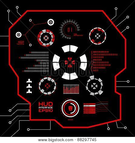 Abstract vector red virtual graphic touch user interface HUD.