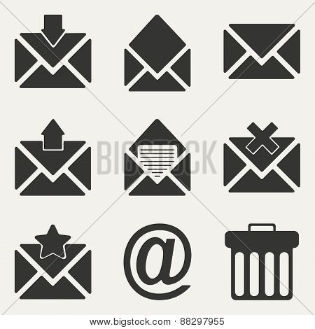 Flat in black and white concept mobile application email icons