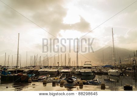 Seaport. Mediterranean seaport in cloudy weather