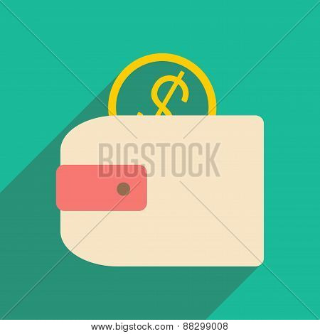 Flat with shadow icon and mobile applacation purse