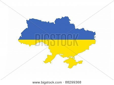 Ukraine Flag Map