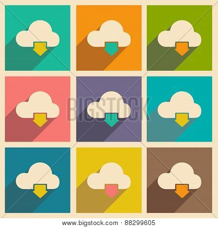 Flat with shadow icon and mobile applacation download cloud
