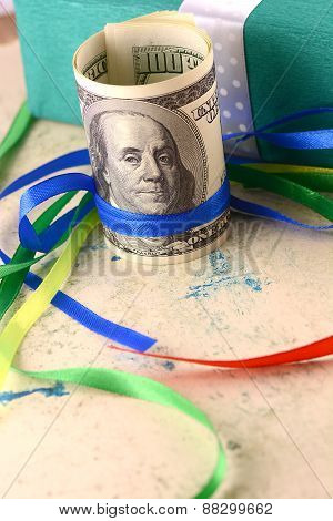 American Money Dollars And Green Gift Box