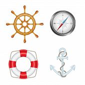 picture of navy anchor  - Set of marine icons - JPG