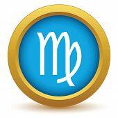 image of virgo  - Gold Virgo icon on a white background - JPG