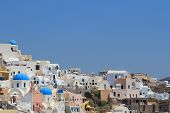 stock photo of canopy roof  - The architecture of the village of Ia in Santorini Greece - JPG