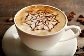 picture of latte  - Cup of latte art coffee - JPG