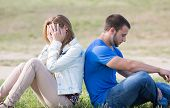 picture of breakup  - Couple sitting back with problems a boyfriends - JPG