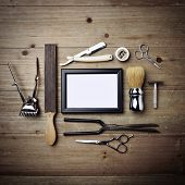 picture of barber  - Set of vintage barber equipment with blank canvas - JPG