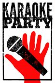 foto of karaoke  - Typographic retro grunge karaoke party poster - JPG