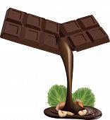 stock photo of chocolate fudge  - Stick chocolate fudge with nuts for feeding - JPG
