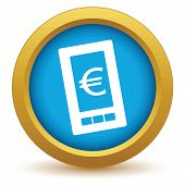 pic of tariff  - Gold euro phone icon on a white background - JPG