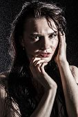 pic of wet  - Wet young sexy woman covered with water drops over black background - JPG
