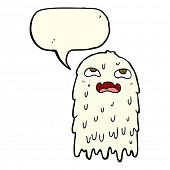 foto of grossed out  - gross cartoon ghost with speech bubble - JPG
