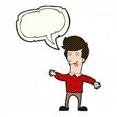 stock photo of sticking out tongue  - cartoon man sticking out tongue with speech bubble - JPG