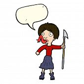 picture of spears  - cartoon woman with spear sticking out tongue with speech bubble - JPG