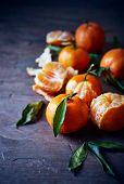 foto of mandarin orange  - Mandarin oranges on a stone background  - JPG
