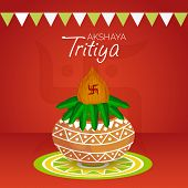 stock photo of pooja  - illustration of  mangal kalash for Akshaya Tritiya celebration in red background - JPG