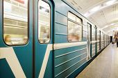 Постер, плакат: MOSCOW RUSSIA  APRIL 12 2015: Sokolnicheskaya line the first line of the Moscow metro Statio
