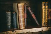 picture of book-shelf  - old books on wooden shelf - JPG