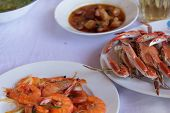 foto of cooked crab  - Grilled prawns and steamed crabs good taste for eating with rice - JPG