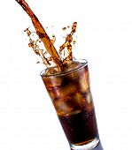 picture of ice cube  - Cola drink splash with ice cube on white background - JPG