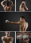 picture of sparring  - Set photos of a young muscular Thai boxer who wound at the hands of traditional hemp rope for sparring or training - JPG