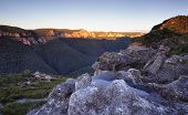picture of piercings  - Pierces Pass looking over the Grose Valley Blue Mountains just after sunrise - JPG