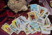 image of cult  - Classic Tarot cards on a desk for telling the future - JPG