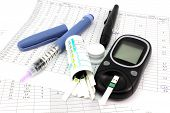 stock photo of hemoglobin  - Items for daily monitoring of blood glucose - JPG