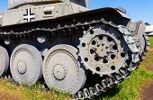 image of armored car  - German old light tank caterpillar close up - JPG