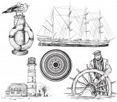 stock photo of brig  - Vector illustration of hand drawn collection of sea and nautical elements - JPG