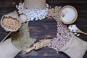 pic of legume  - Legumes on wooden table in the kitchen - JPG
