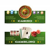 picture of dice  - Casino horizontal banners set with realistic cards dice roulette and chips isolated vector illustration - JPG