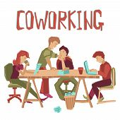 picture of coworkers  - Coworking center concept with people working at table and talking flat vector illustration - JPG